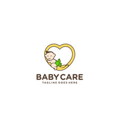 Creative logo and cute baby for logo baby care vector