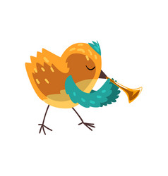 Cute bird playing pipe cartoon animal character vector