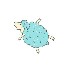 cute blue sheep doodle - cartoon farm animal in vector image