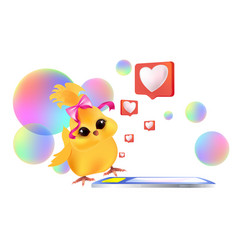 Cute chick using mobile app happy easter spring vector
