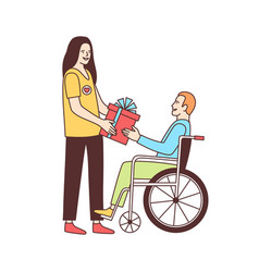 Cute female volunteer giving gift to disabled vector