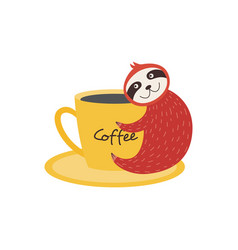 cute funny sloth with coffee vector image