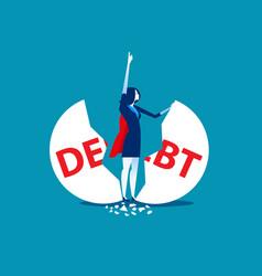 Debt management super businesswoman punch cracked vector
