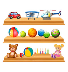 Different types of balls and toys on shelves vector