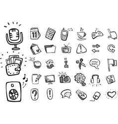 Doodle web icons vector