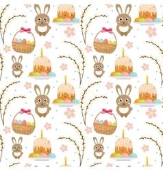 Easter seamless pattern with rabbit egg basket vector image