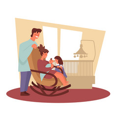 family and newborn baby siblings and parents vector image