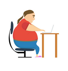 fat programmer freelancer gamer flat design work vector image