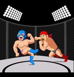 Fighter sparring mixed martial arts vector