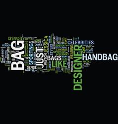 fine sense of designer bags text background word vector image