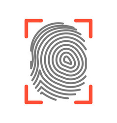 fingerprint sign isolated on white flat vector image