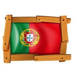 flag of portugal on wooden frame vector image