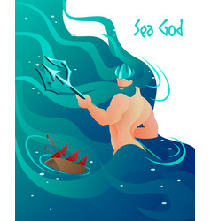 flat ancient greek mythology is written sea god vector image