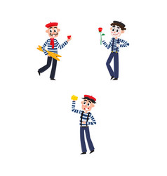 Flat french culture fashion people set vector