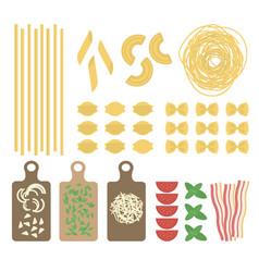 flat italian pasta set vector image