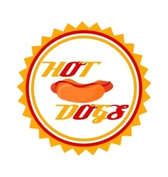 flat logo hotdog vector image