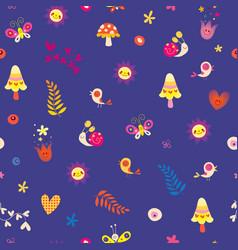 flowers birds mushrooms butterflies snails hearts vector image