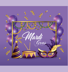 frame with party hat and drum decoration to event vector image