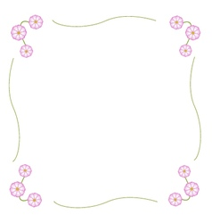 Fuchsia and white cosmos flower frame vector