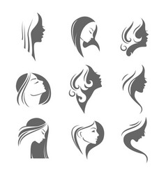 Girls portrait - silhouette icon vector