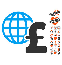 global pound economics icon with love bonus vector image