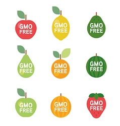 Gmo free tag logo label emblem for plant fruits vector