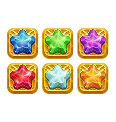 golden amulets with colorful crystal stars vector image