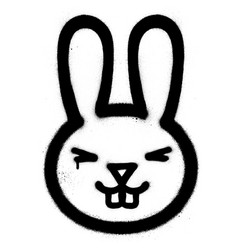 graffiti smiling rabbit sprayed in black over vector image