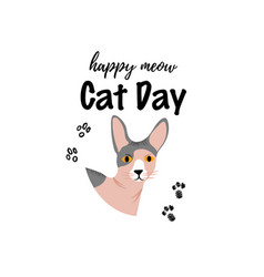 greeting card with text happy meow cat day vector image
