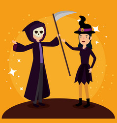 halloween card with witch disguise ans death vector image