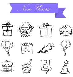Hand draw element new year icons vector