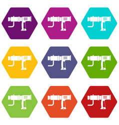 hand drill icon set color hexahedron vector image