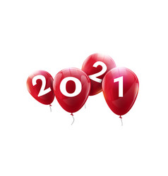 happy 2021 new year red balloons greeting vector image