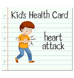 Health card with man having heart attack vector