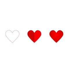 Hearth set icon red colored on a white background vector