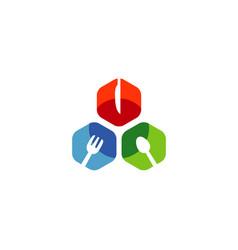 hexagon food logo vector image