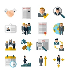 Human resources flat shadow icons set vector image