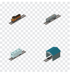 Isometric wagon set of railroad carriage train vector