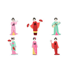 japanese girls in traditional clothes set vector image