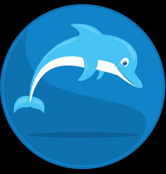 jumping dolphin cartoon underwater vector image