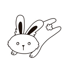 jumping rabbit animal cartoon isolated icon line vector image