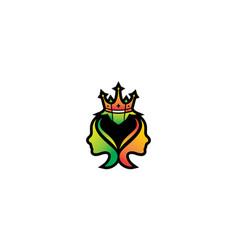 Leaf crown logo design minimalist template vector