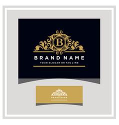 Letter b logo design concept royal luxury gold vector