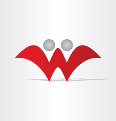 letter w abstract people design vector image