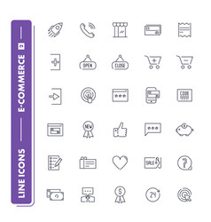 Line icons set e-commerce 2 vector