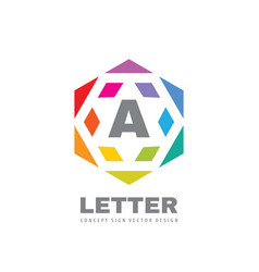 logo design hexagon sign letter a creative symbol vector image