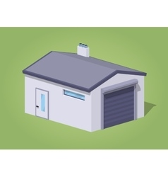 Low poly closed white garage vector