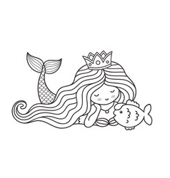 Mermaid lying on the seabed with cute little fish vector