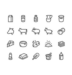 Milk line icons dairy products cheese yogurt vector