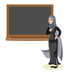 Muslim woman teacher standing in front of vector